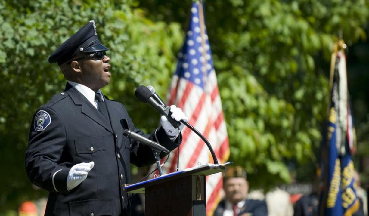 Cpl. Rey Reynolds sings the National Anthem at Vancouver's Memorial Day ceremony this year.