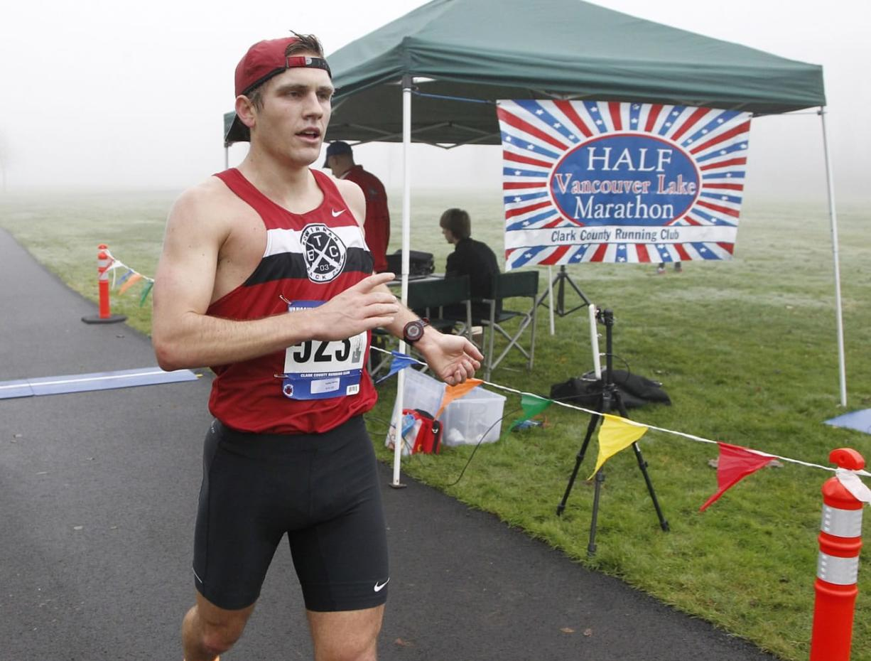 Patrick Reaves was the men's winner of the Vancouver Lake Half Marathon on Sunday, Jan. 25, 2015. He finished with a time of 1 hour, 10 minutes, 57 seconds. (Steve Dipaola/For The Columbian)