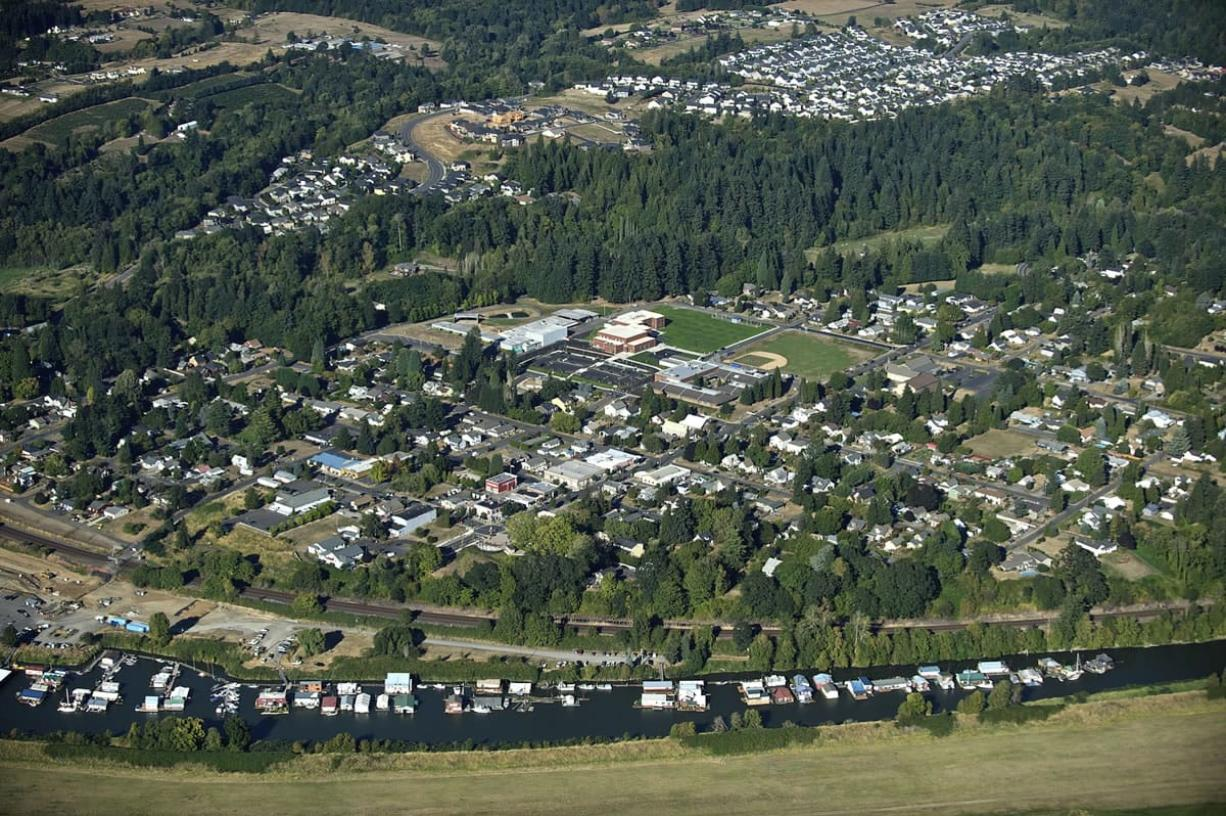 Ridgefield from the air looking east in September.