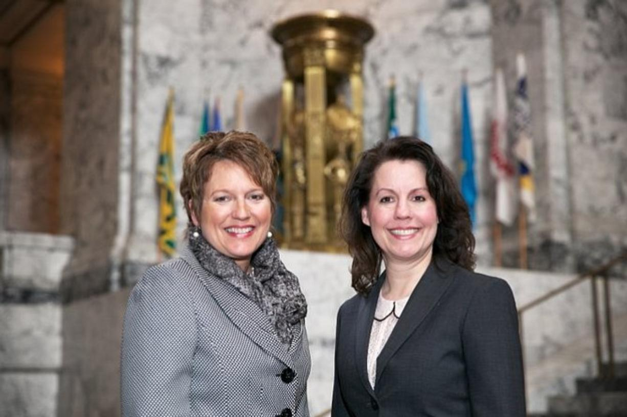 Rep. Liz Pike, R-Camas, and Sen. Ann Rivers, R-La Center, seen in June 2014 in the rotunda of the Washington Capitol, are working with Rep.