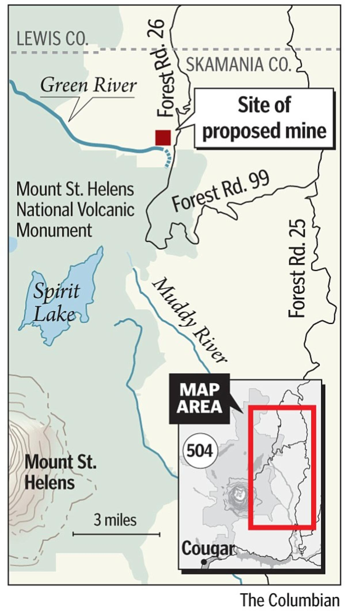 Proposed mine near Mount St. Helens.