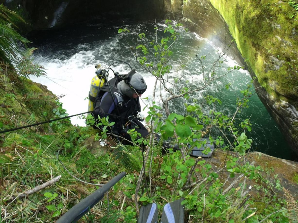 Skamania County's dive rescue team found the body of a Portland hiker underneath Prospector Creek Falls