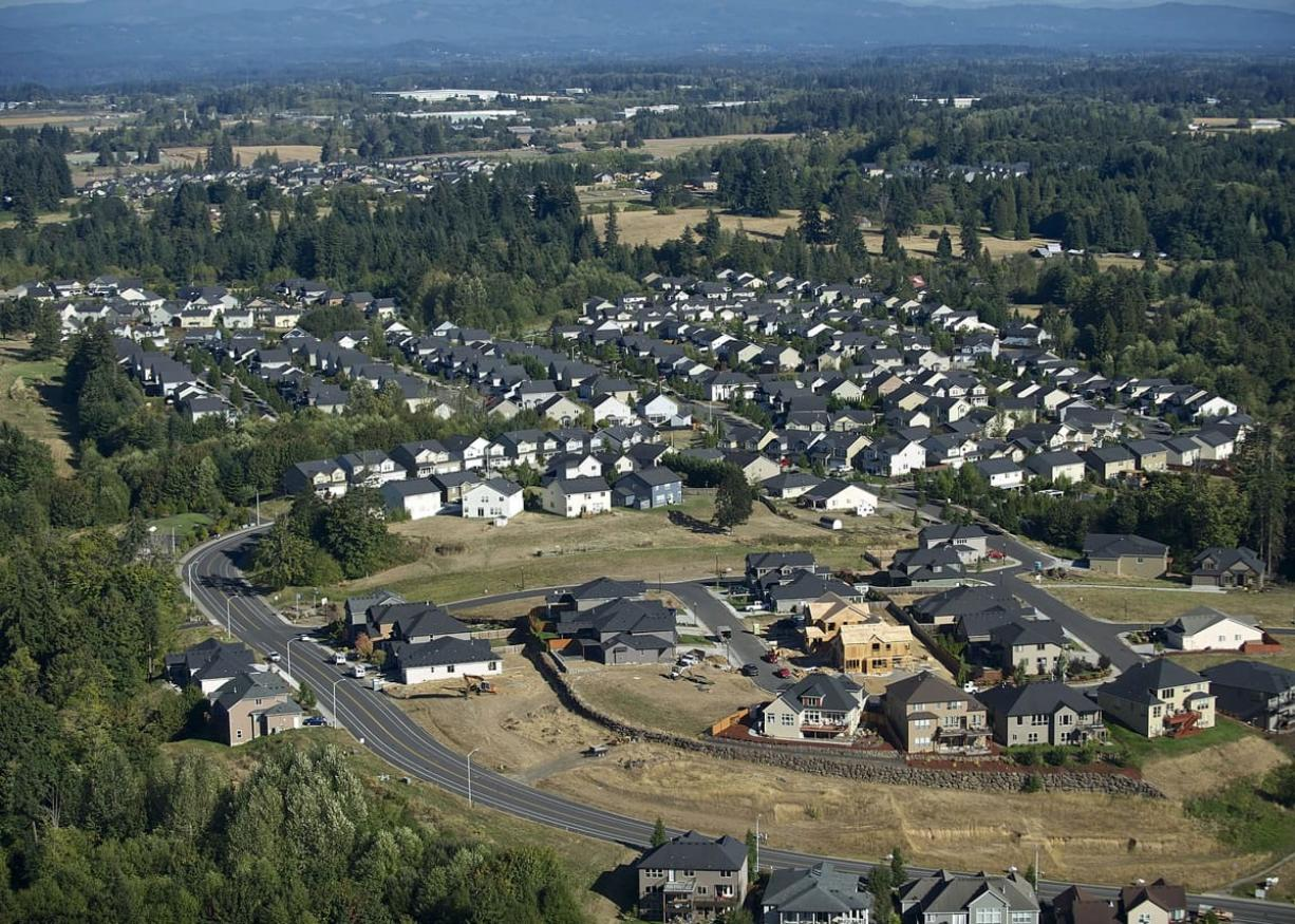 New construction in Ridgefield near Heron Drive from the air on Wednesday September 10, 2014.