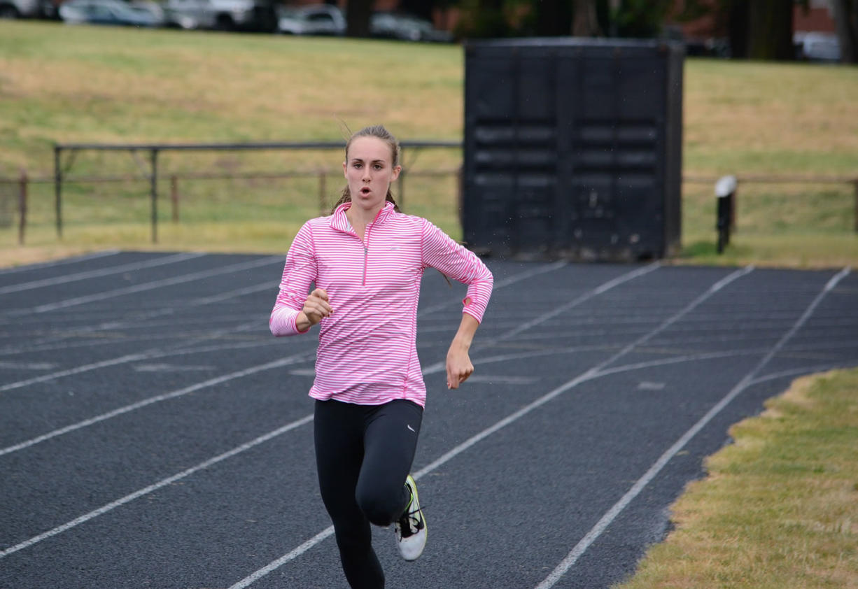 Alexa Efraimson of Camas trains at Hudson's Bay High School. The 18-year-old recently ran the fastest 1,500 meters ever by an American woman younger than 20.