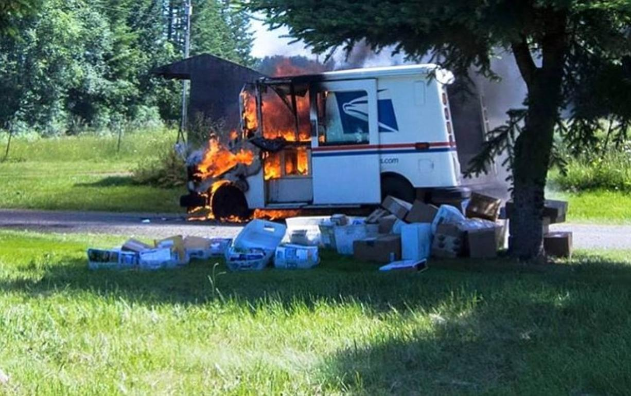 A mail truck caught fire Friday morning in north Clark County.