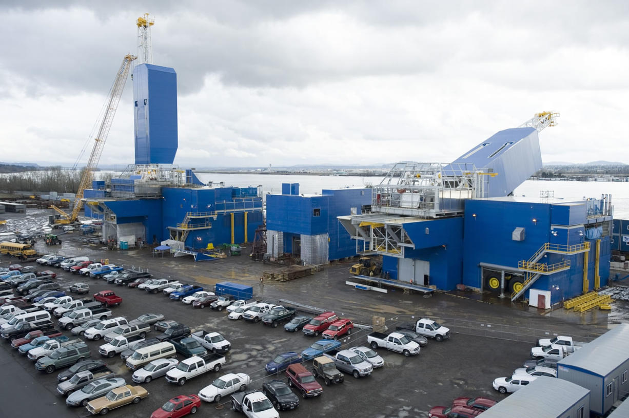 The Columbian files Two 200-foot-tall oil rigs, destined for oil fields in Alaska, are built in 2011 at Thompson Metal Fab Inc. in Vancouver.
