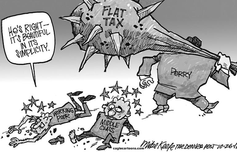 editorial cartoon perry s flat tax the columbian