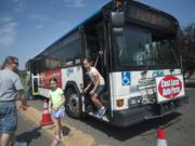 A C-Tran bus drops off passengers at the Clark County Fair in Ridgefield on Wednesday.