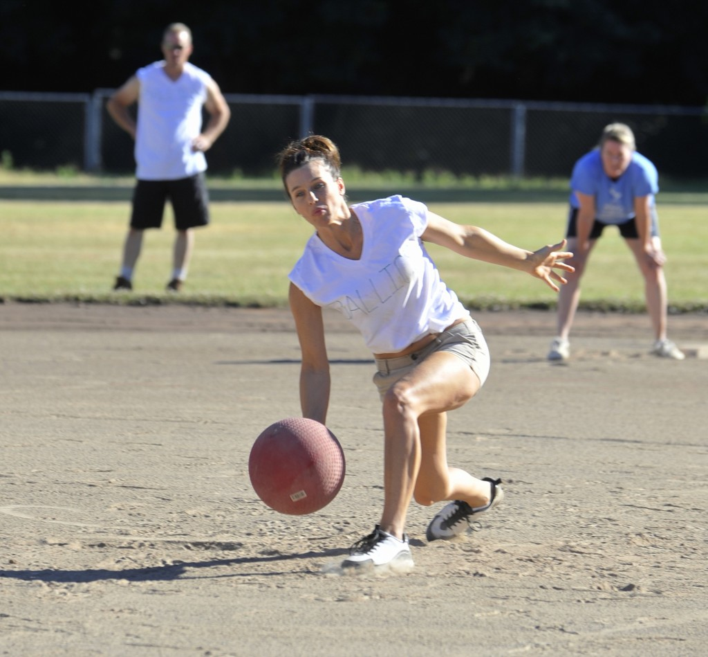 Jenni Sosky of the Ballics pitches the ball during an adult kickball league  game at David
