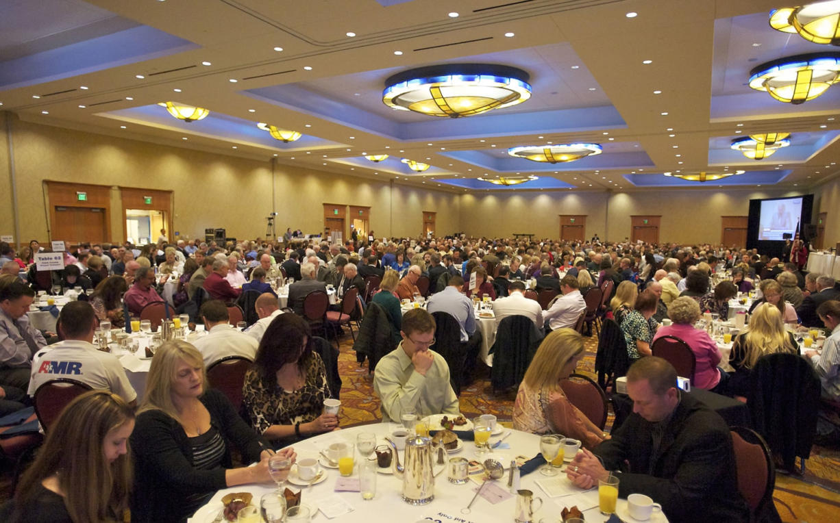 A crowd of more than 700 attends the Clark County's Mayor's and Civic Leaders 12th Annual Prayer Breakfast at the Hilton Vancouver Washington last year.