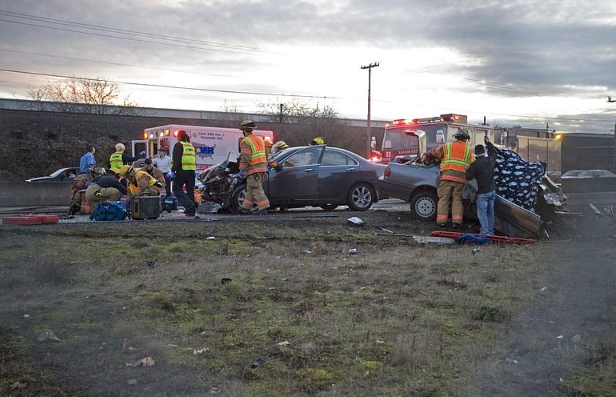 Emergency personnel responded to the fatal accident on the westbound lanes of state Highway 14 near South Grand Boulevard on Jan. 9.
