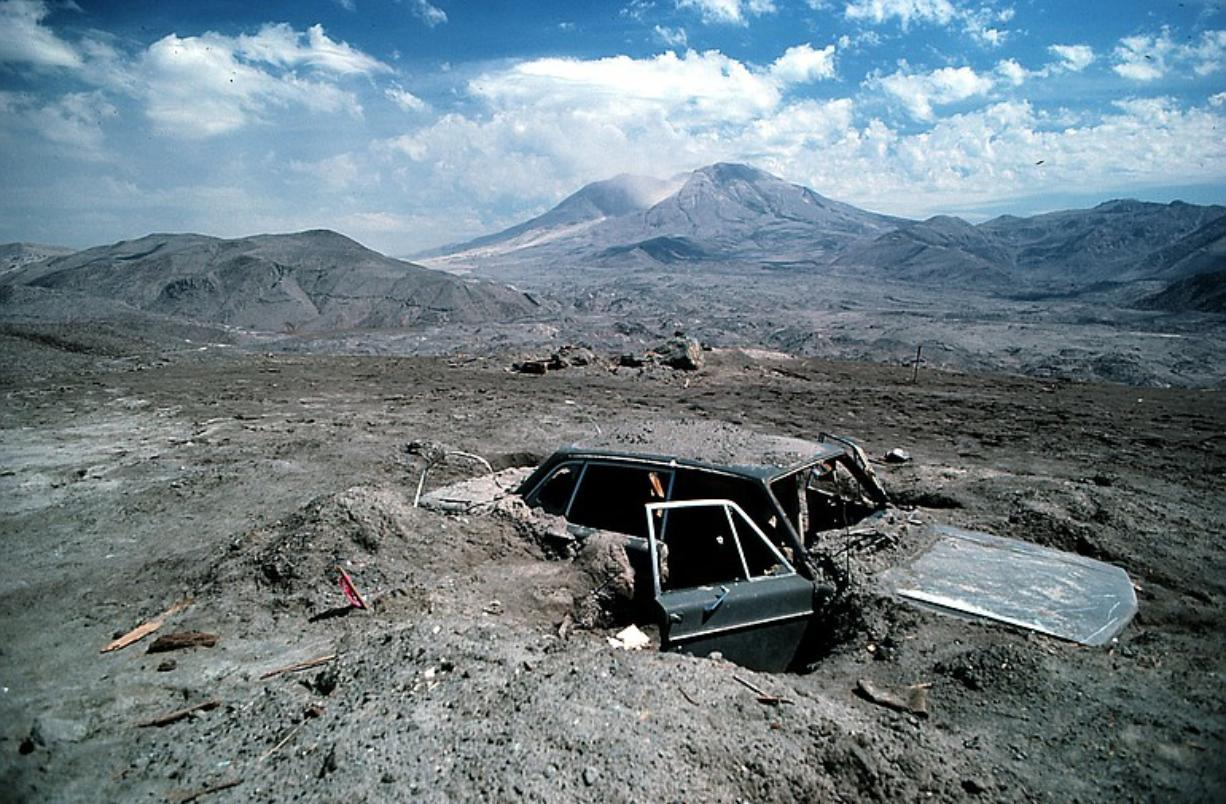 Reid Blackburn's partially excavated car reveals the devastation around where he had camped at Coldwater Ridge.