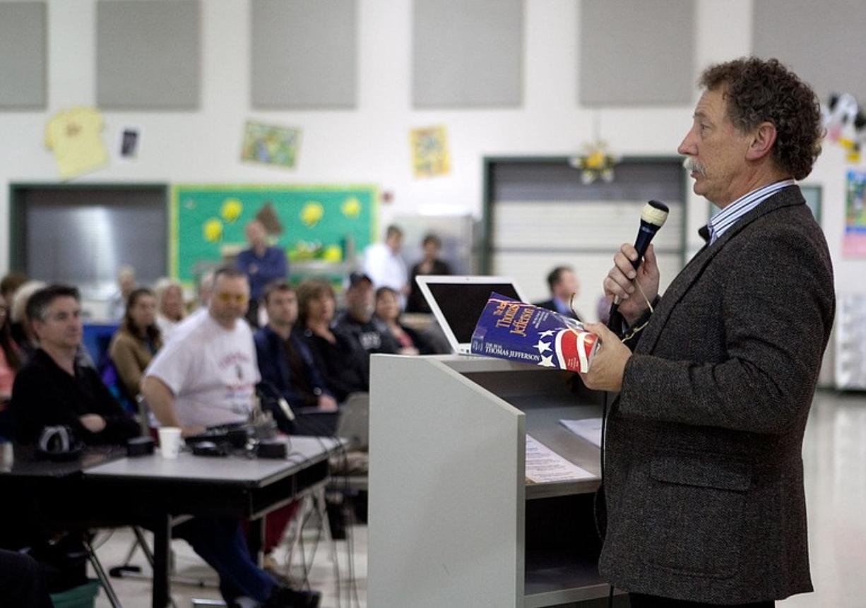 Tom Niewulis, a Battle Ground business consultant and a founder of We the People Vancouver, speaks about the legacy of Thomas Jefferson at its May 4 meeting at Harney Elementary School.