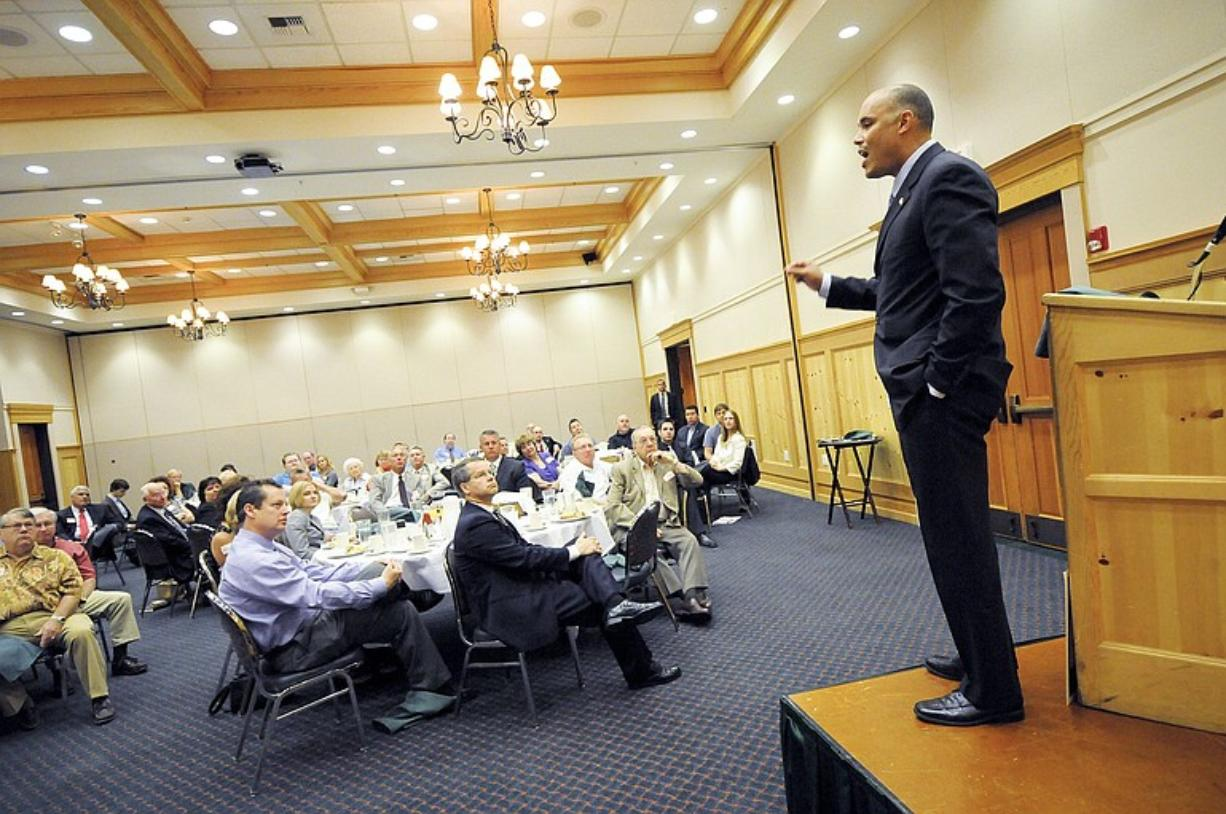 Candidate David Castillo, who's vying for the open 3rd Congressional District, speaks to supporters during a fundraising breakfast at the Heathman Lodge in Vancouver on Tuesday.