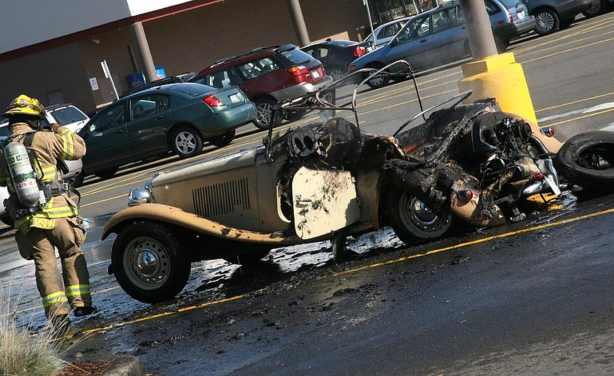 Robert Howell's 1964 Volkwagen/MG kit car was destroyed in a Hazel Dell fire Monday morning.