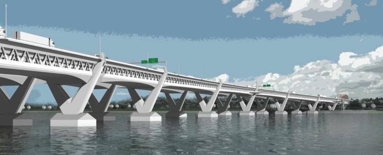 This rendering depicts a now-eliminated proposal for a new Columbia River Crossing curving downstream from the existing twin drawbridges.