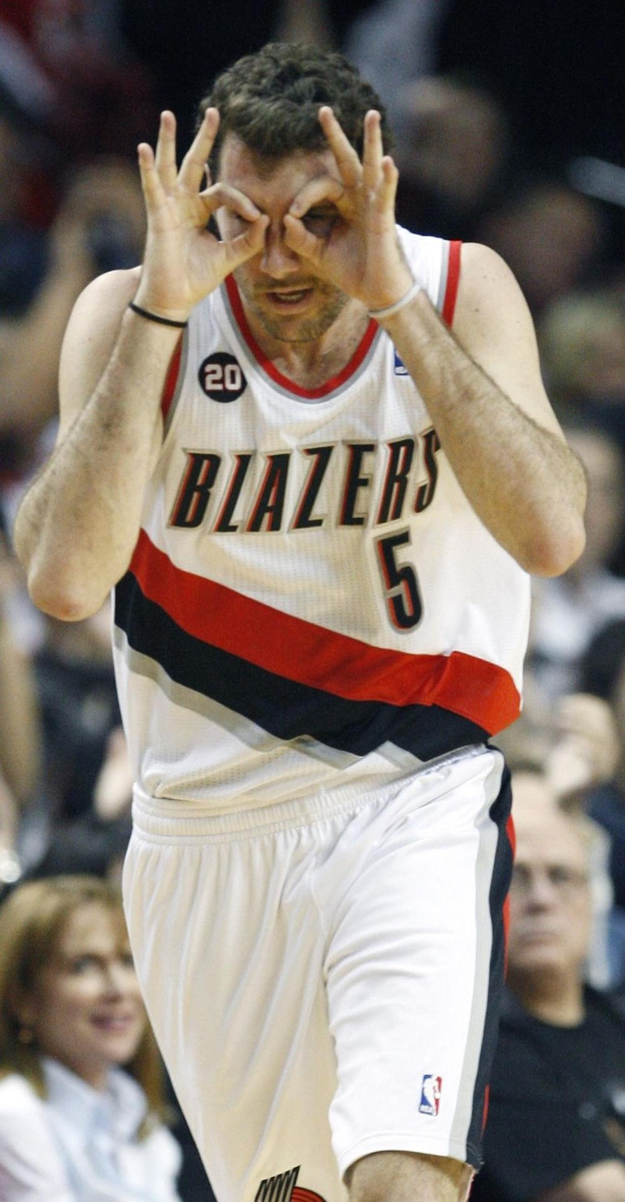 """Rudy Fernandez (5) sports his """"3 Goggles"""" after knocking down a 3-pointer."""