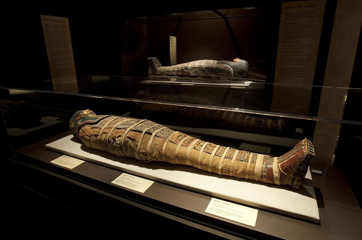 """The mummy of """"Annie"""" and her sarcophagus are part of """"Lost Egypt: Ancient Secrets, Modern Science,"""" on display at the Oregon Museum of Science and Industry in Portland."""