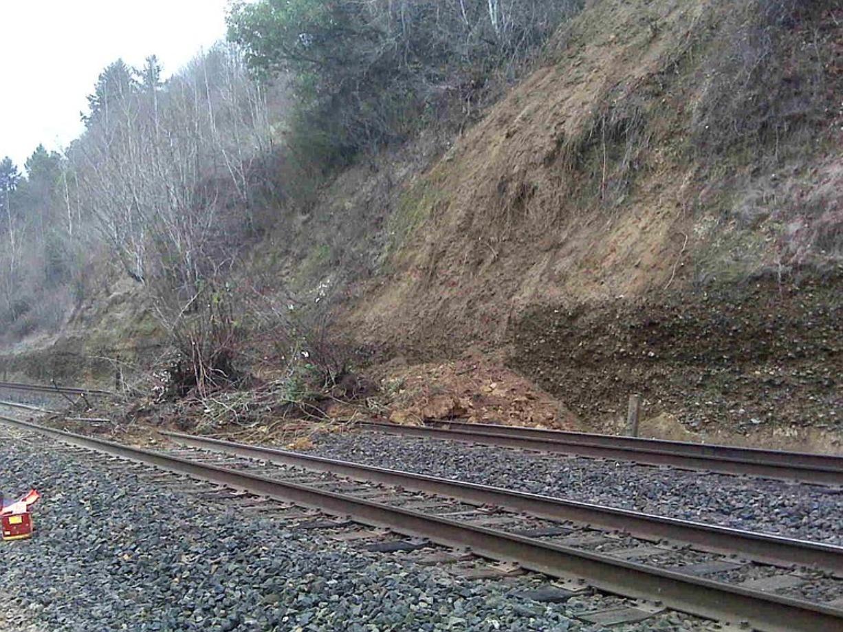 A Vancouver-area landslide Saturday morning means a halt to passenger train traffic until 6:50 a.m. Monday.
