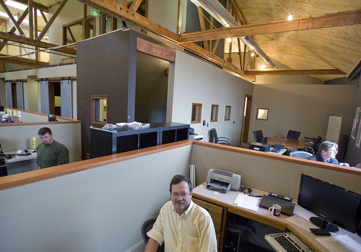 Sigma Design owner Bill Huseby works at an open desk rather than in a closed office.