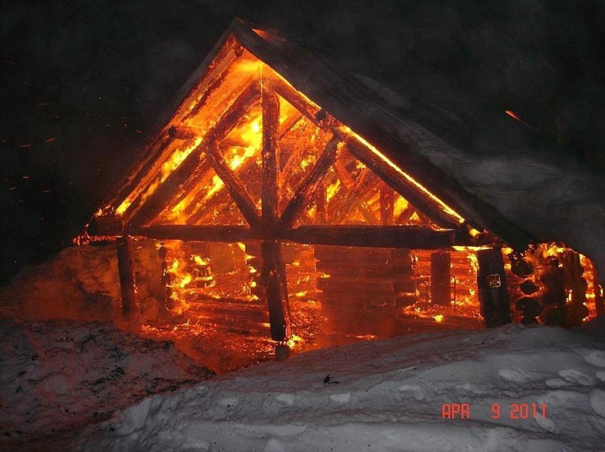 Skamania County sheriff's Deputy George Barker captured this image of a snow shelter burning at the Marble Mountain Sno-Park.