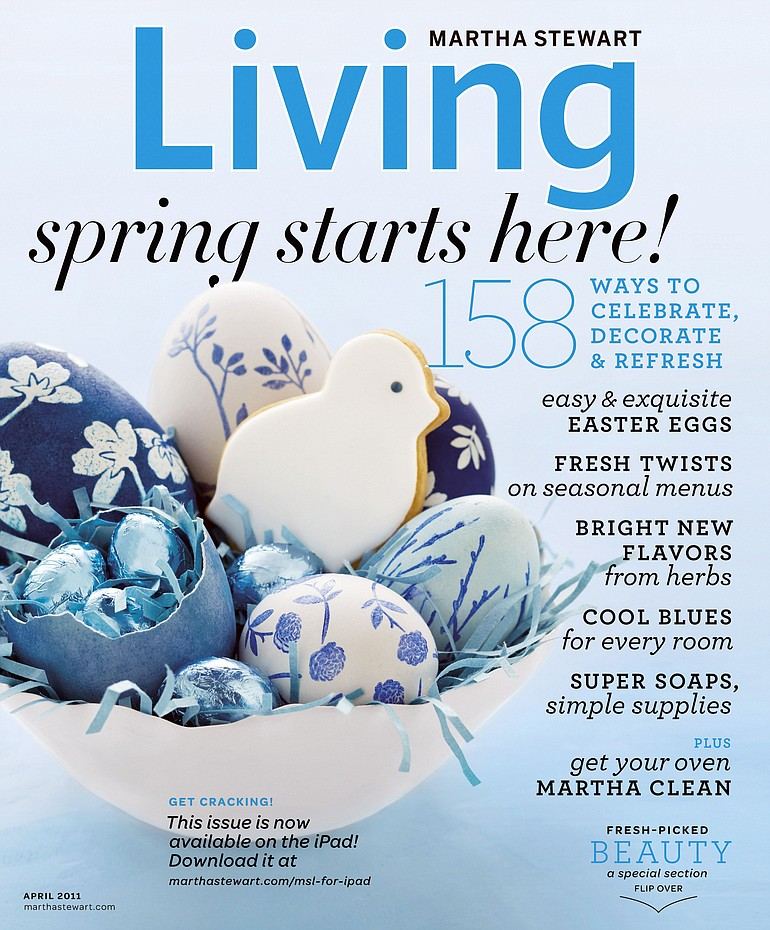 Decor experts dip into new creative ways to color easter eggs the the cover of the april 2011 issue of martha stewart living the issue includes several negle Choice Image