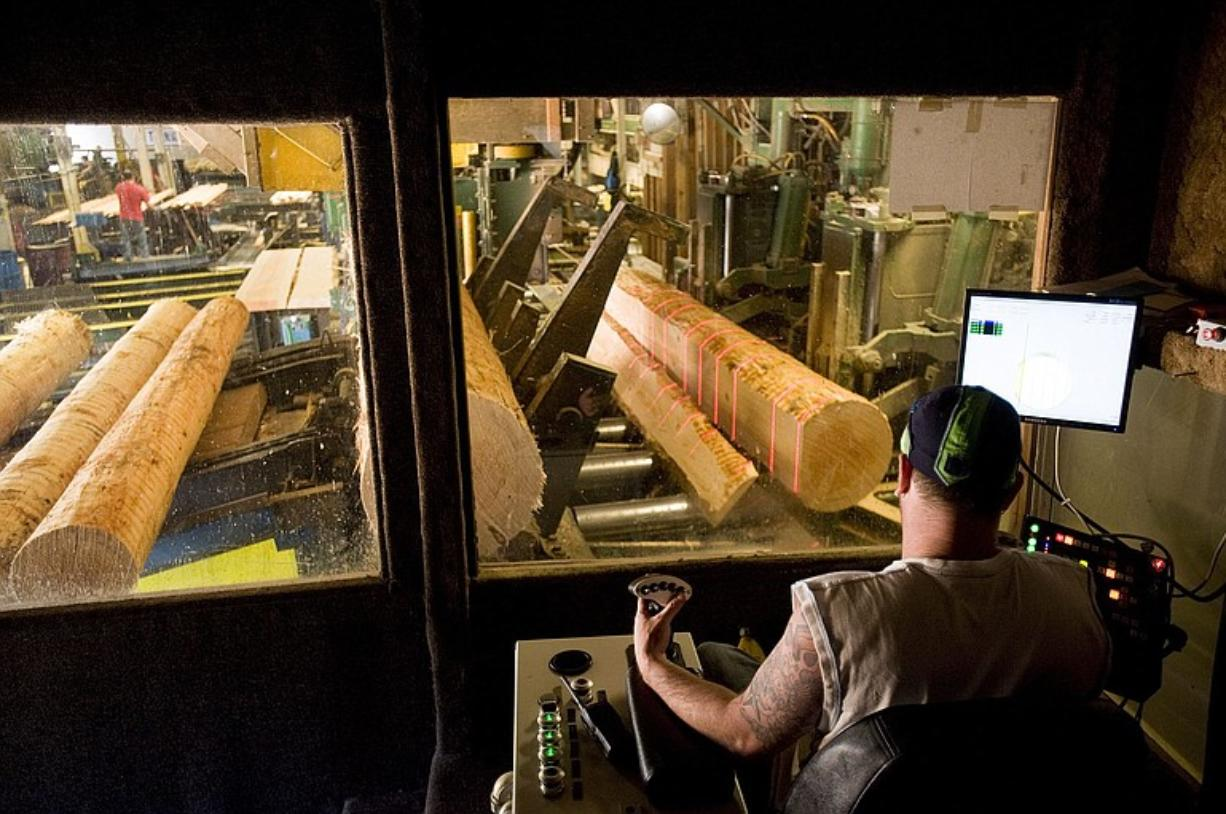 Logs are cut into lumber at Clark County's last operating saw mill, Columbia Vista Corp.