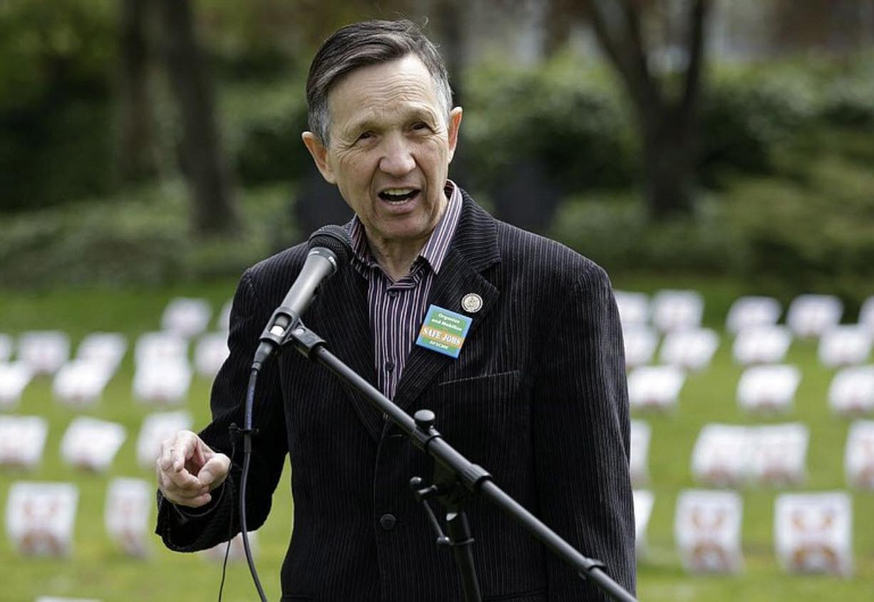 U.S. Rep. Dennis Kucinich, D-Ohio, speaks April 28 at Western State Hospital in Lakewood at a union-sponsored event to remember workers killed on the job in Washington state.