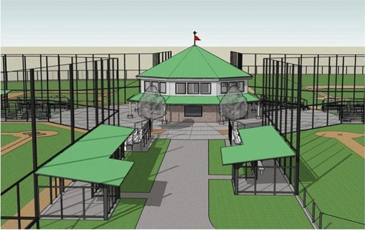 This sketch offers a view of what the Luke Jensen Sports Park in Hazel Dell will look like. It's estimated to be completed in early 2012.