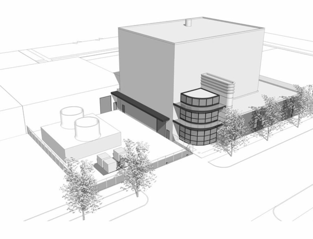 A drawing of a biomass plant that Clark County would have liked to build in downtown Vancouver, at the corner of West 11th and Harney streets.
