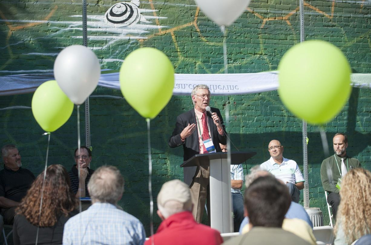 Jeff Hamm, executive director of C-Tran, speaks during a ceremony to launch construction of The Vine on Monday.
