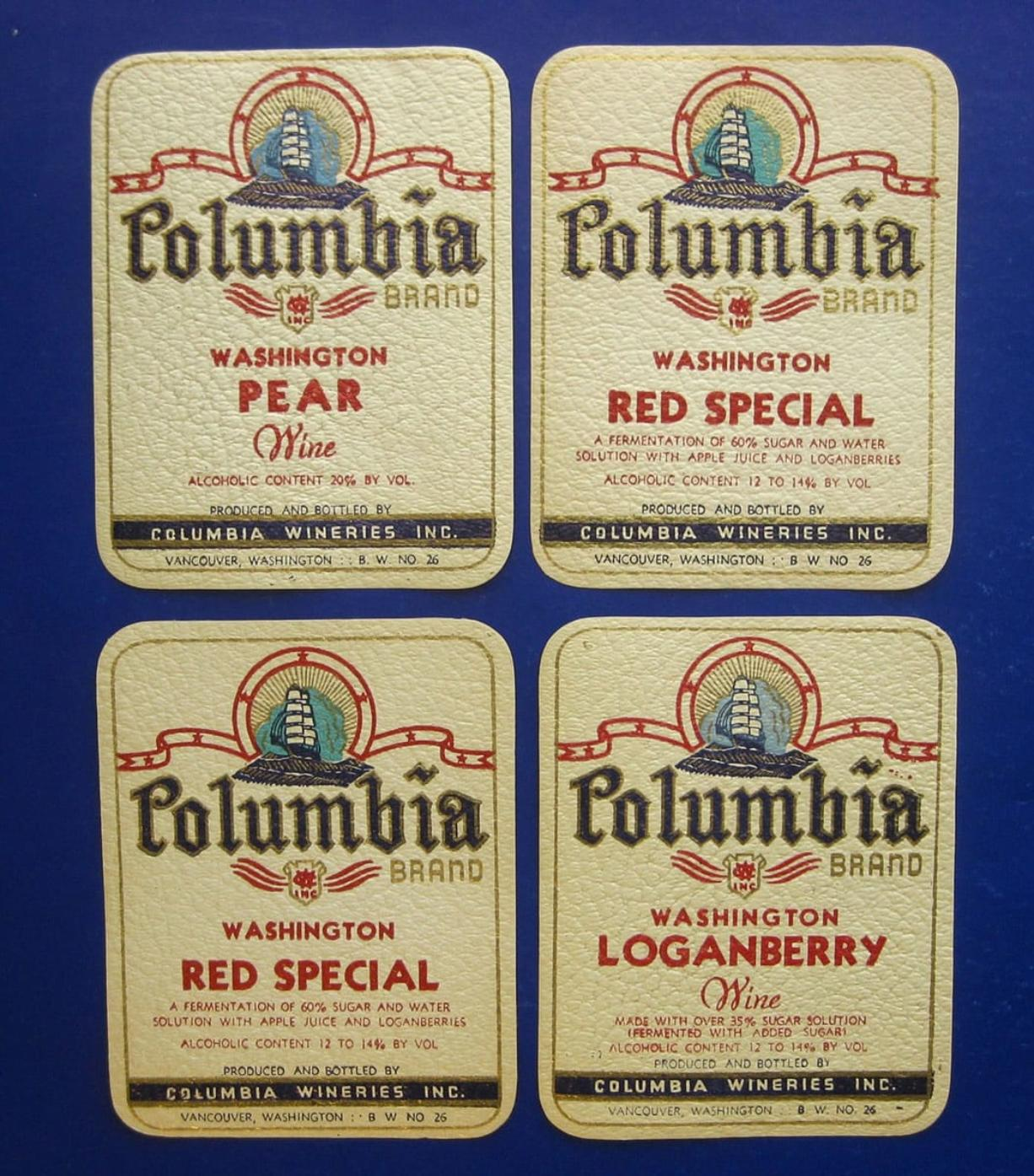 Chalk Hill Treasures eBay store Original unused labels from Columbia Wineries Inc., which produced fruit wines in Vancouver from 1935 through 1968.