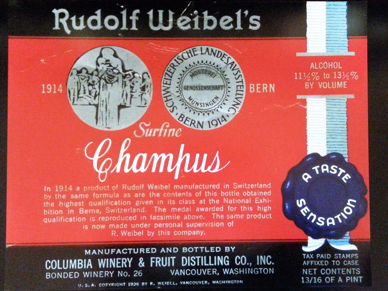 Fred Weibel Jr. Rudolph Weibel, one of the original Columbia Wineries winemakers, manufactured his sparkling wine formula in Vancouver prior to establishing Weibel Family Vineyards