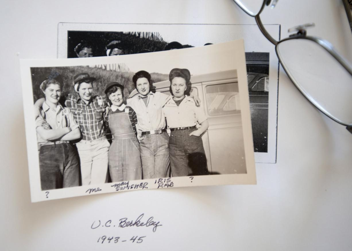 Martha Frederick, second from left, with other women in the swing-shift crew at the machine shop during World War II. The women had to show Radiation Laboratory ID when they bought men's work clothes, she said.