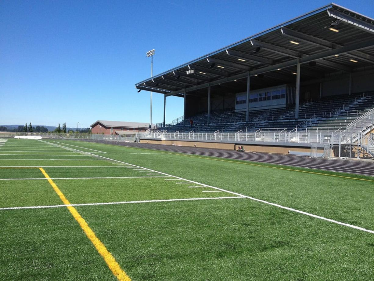 Beaver Stadium at the new Woodland High School features artificial turf and 1,600 seats. That's twice as many as the old stadium. Football practice begins Aug. 19.