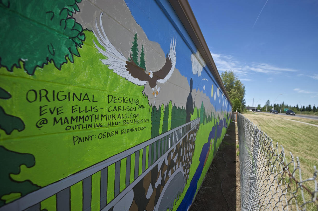 A mural on a storage building near the intersection of Northeast Fourth Plain Boulevard and Andresen Road was  designed by a local artist and painted by Peter S. Ogden Elementary School students to deter vandals. The Vancouver City Council will have a public hearing on tough new anti-graffiti laws on Aug.
