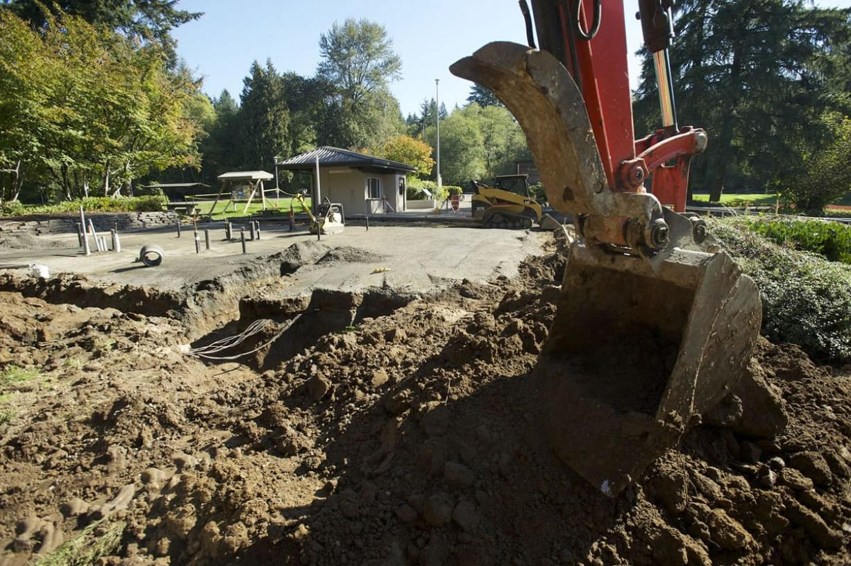 Photos by Steven Lane/The Columbian The Washington State Department of Transportation is completely rebuilding the southbound Gee Creek Rest Area along Interstate 5 in Clark County. The facility, closed since Sept. 8, is expected to be open by Thanksgiving.