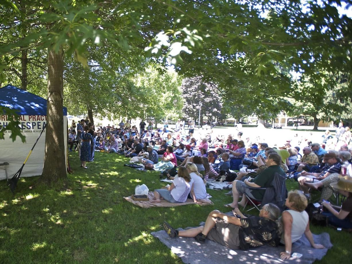 """The Original Practice Shakespeare Company performs """"Comedie of Errors"""" at Esther Short Park in 2013."""