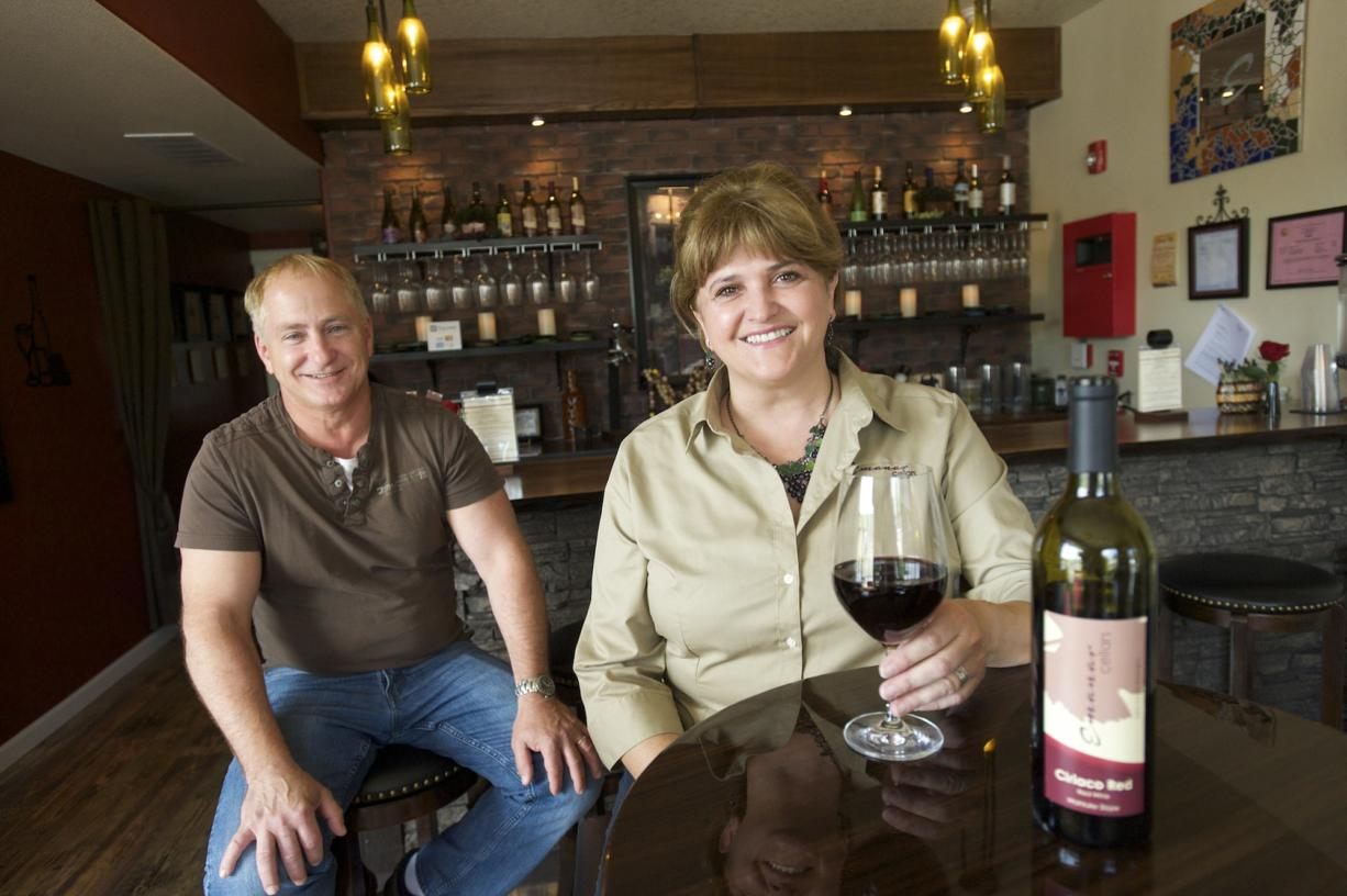 Mar Meyerhoefer and her husband, Richard, operate a tasting room/restaurant and sell imported Spanish wines, plus local wines at their wine shop in Battle Ground Village.