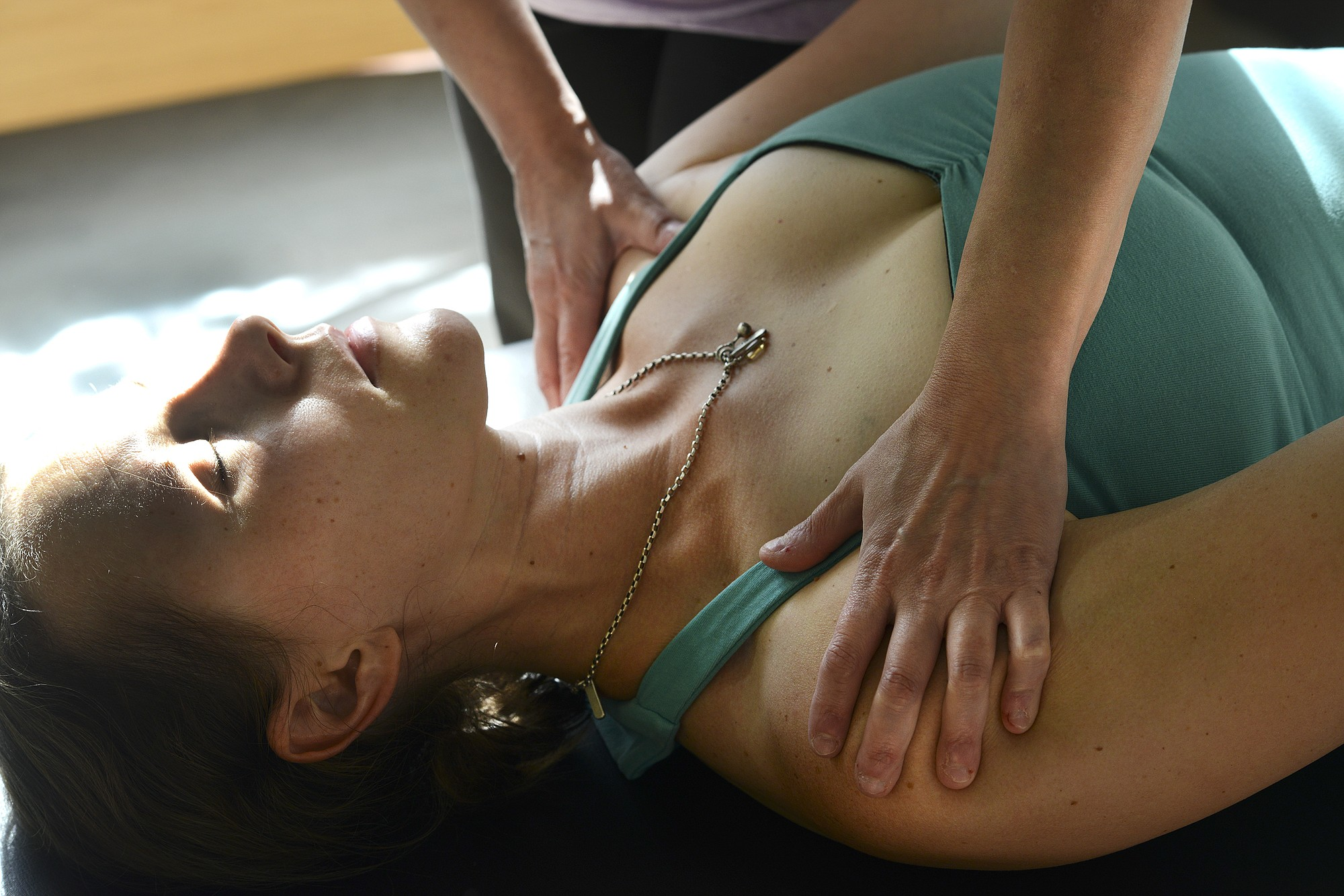 Ariane Kunze/The Columbian Jessica Schultz receives Pilates instruction from Laura Kotsovos of Camas at the Jessica Schultz Pilates studio in Portland. Kotsovos' Pilates certification requires 600 hours of teaching and observation, as well as several written and technique tests.