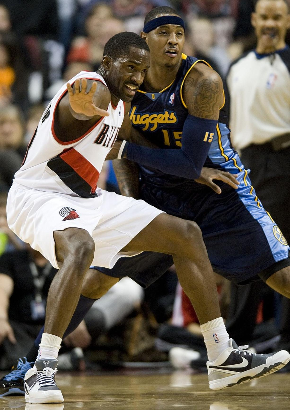 Martell Webster, being guarded by Denver's Carmelo Anthony, has continued to show growth on the basketball court.