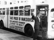 Clark County Historical Museum Emmet J. Onslow, director of the tourist and convention committee of the Greater Vancouver Chamber of Commerce, boards a city bus encouraging organizations to bring their convention to the city in 1963. The chamber is celebrating its 125th birthday this year.