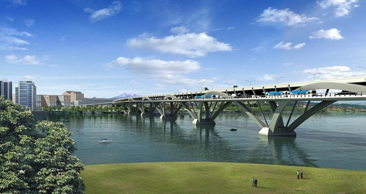 This image depicts an arch design for a straight alignment upstream of the current I-5 bridge.