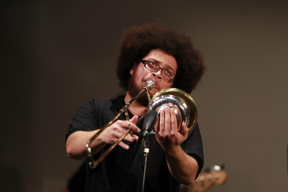 James Powers plays a trombone solo for the Clark College Jazz Ensemble at the college's annual jazz festival on Saturday.