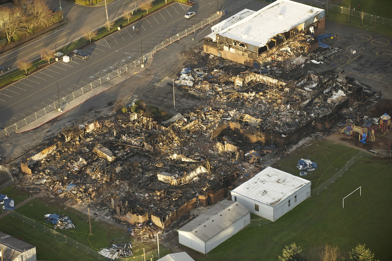 Aerial photograph of Crestline Elementary School, Friday, February 8, 2013. (Steven Lane/The Columbian)