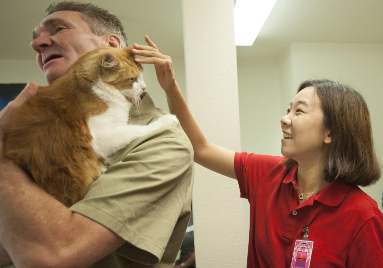 South Korean university student Woo Jeong Kim strokes inmate Harold Bain's cat, Mikey, Thursday at Larch Corrections Center. The Korean students were in the United States learning about inmate-and-animal programs, which they say could benefit youth detention centers in South Korea.