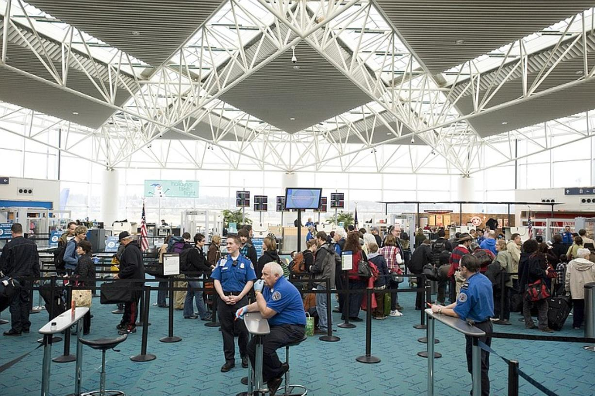 Security checkpoint at Portland International Airport, on Jan.
