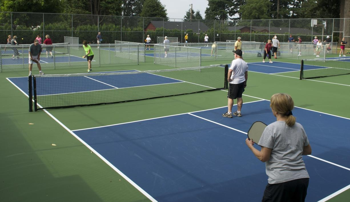 Dozens of people showed up to play pickleball at Hathaway Park on Monday morning. The city of Washougal recently converted the park's old tennis courts into six pickleball courts in hopes of bringing more people to the city.