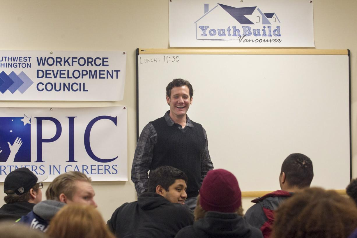 Vancouver Mayor Tim Leavitt meets Monday with teens and young adults participating in YouthBuild Vancouver.