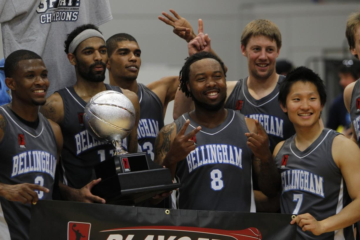 Bellingham Slam players celebrate after the IBL Championship game.(Steve Dipaola for the Columbian)